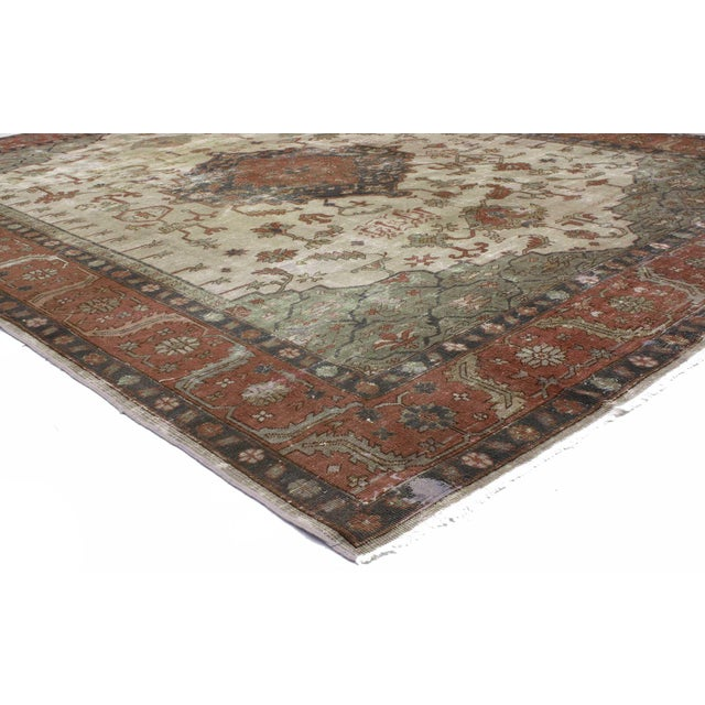 72593 Distressed Antique Turkish Sparta Rug with Modern Rustic English Style 08'08 x 11'06. With its perfectly worn-in...