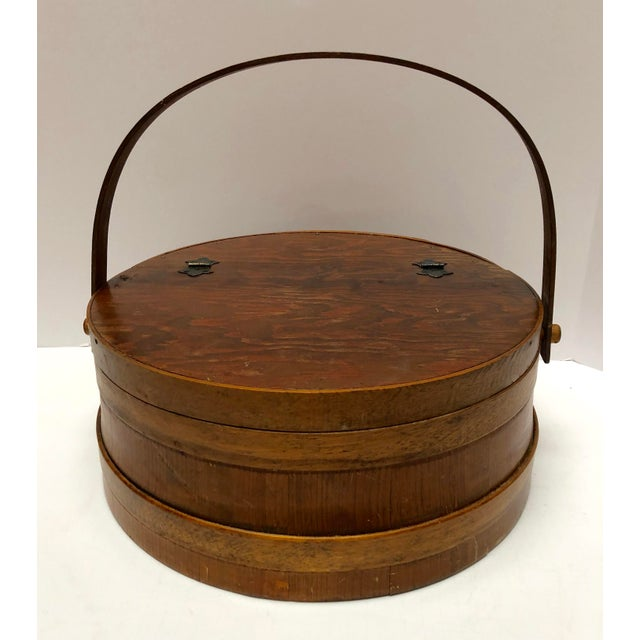 1930s Shaker Firkin Wood Sewing Basket For Sale - Image 11 of 11