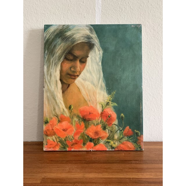 1960s Vintage Oil Portrait Painting For Sale In Dallas - Image 6 of 6