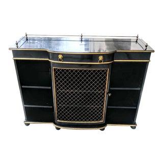 Vintage Dorothy Draper Style Black Gold Bar Storage Shelf Cabinet For Sale