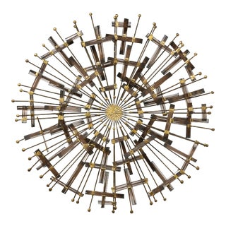 Mid-century Circular Brass and Metal Wall Sculpture in the Manner of Cjere, 1970s For Sale