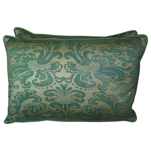 Textile Pair of Italian Venetian Style Green & Gold Pillows For Sale - Image 7 of 7