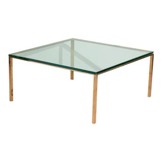 Vintage 1970s Brass and Glass Coffee Table For Sale