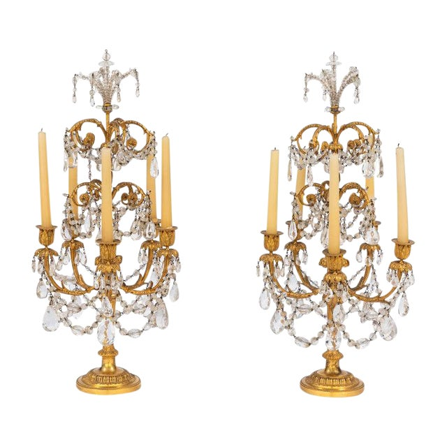 19th Century French Doré Bronze and Rock Crystal Girandoles - a Pair For Sale