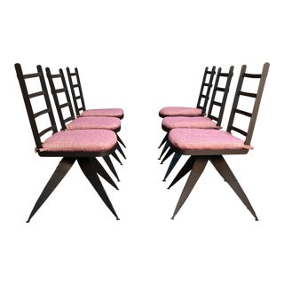 Vintage Mid Century Torch Cut Steel Brutalist Dining Chairs- Set of 6 For Sale