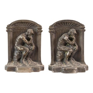 Thinker Bronze Bookends - a Pair For Sale