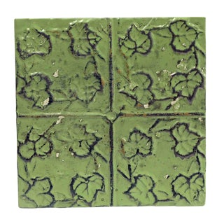 Antique Green 4 Leaf Tin Panel For Sale