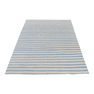 Cream & Blue Stripe Kilim Rug - 14'9''x 15'3'' For Sale