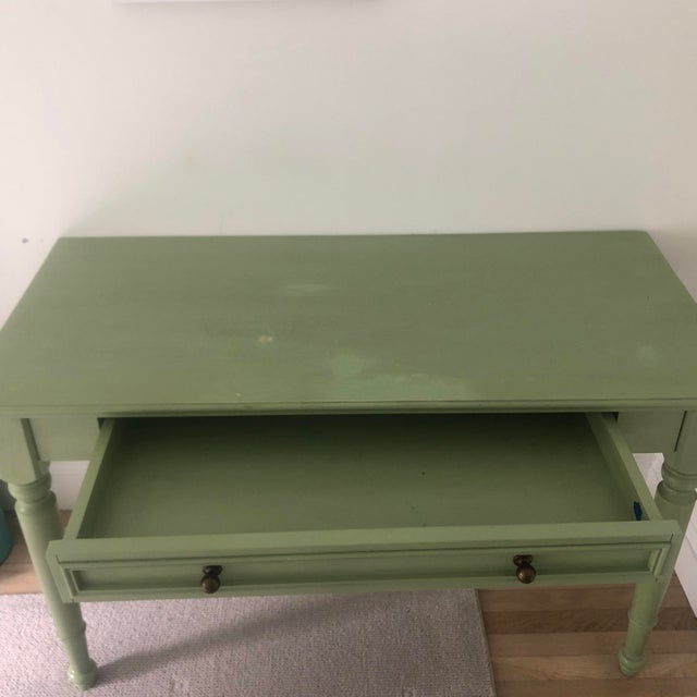 Shabby Chic Shabby Chic Pottery Barn Green Wooden Writing Desk For Sale - Image 3 of 7