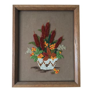 Vintage Southwestern Cattails Needlepoint For Sale