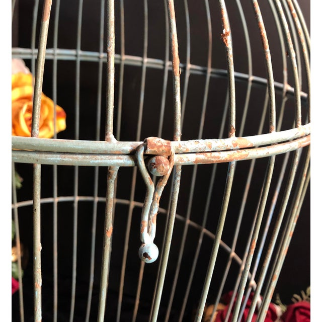 Metal Vintage Wire Bird Cage For Sale - Image 7 of 10