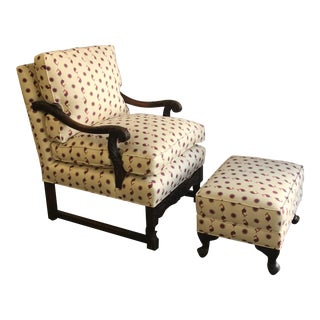 Custom Kathryn M. Ireland Fabric Armchair and Ottoman- a Pair For Sale