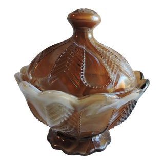 Antique Imperial Caramel Slag Glass Candy Dish No. 54 1/2 For Sale