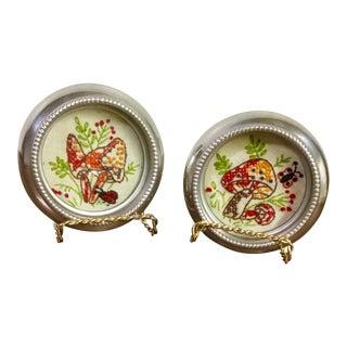 Mid Century Modern Mini Mushroom/Ladybug/Butterfly Cross-Stitch Silver-Plate Framed Art - a Pair For Sale