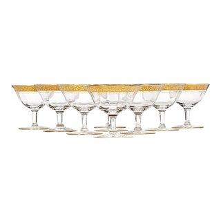Art Deco Floral Gold Rim Low Coupes, Set of 9 For Sale