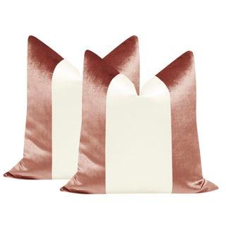 "22"" Rose Gold Velvet & Alabaster Silk Panel Pillows - a Pair"
