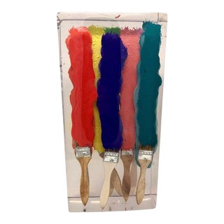 Contemporary French Paint Brushes Resin Art For Sale