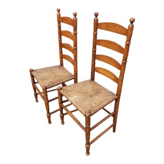 Antique Shaker Cherry Ladder-Back Chairs - a Pair For Sale
