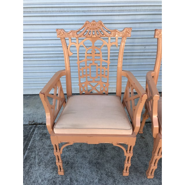 "A rare find! Set of 5 lacquered Chinese Chippendale Chairs. I like to refer to this style as ""Brighton Beach Pavillion."" 4..."