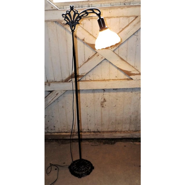 Antique Iron Bridge Floor Lamp & Milk Glass Shade - Image 3 of 9