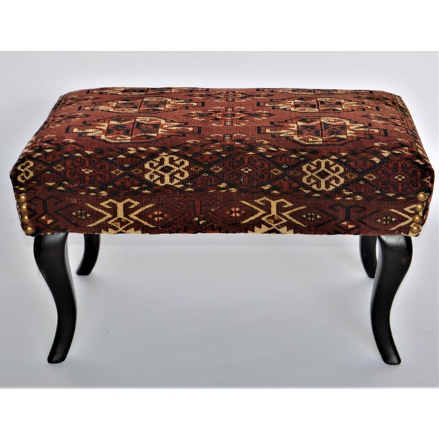 Antique 19th Century Rug Covered Bench For Sale - Image 10 of 10