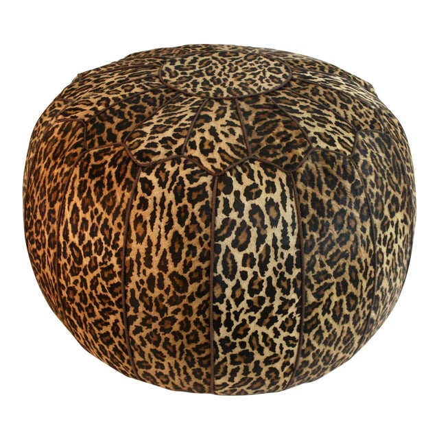 Jamie Young Leopard Print Cowhide Ottoman - Image 1 of 6