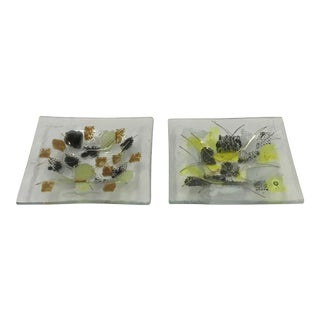 Mid-Century Michael and Frances Higgins Fused Glass Dishes - a Pair For Sale