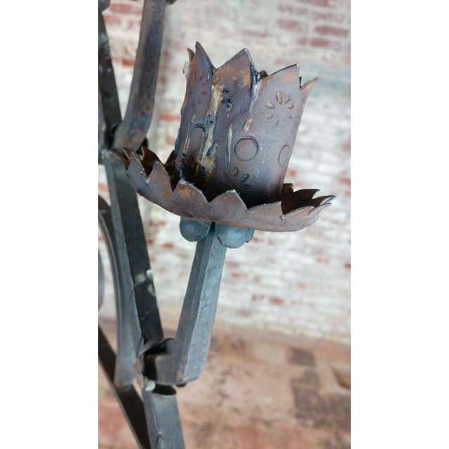 1920s Antique Spanish Gothic Wrought Iron floor Candelabra For Sale - Image 5 of 12