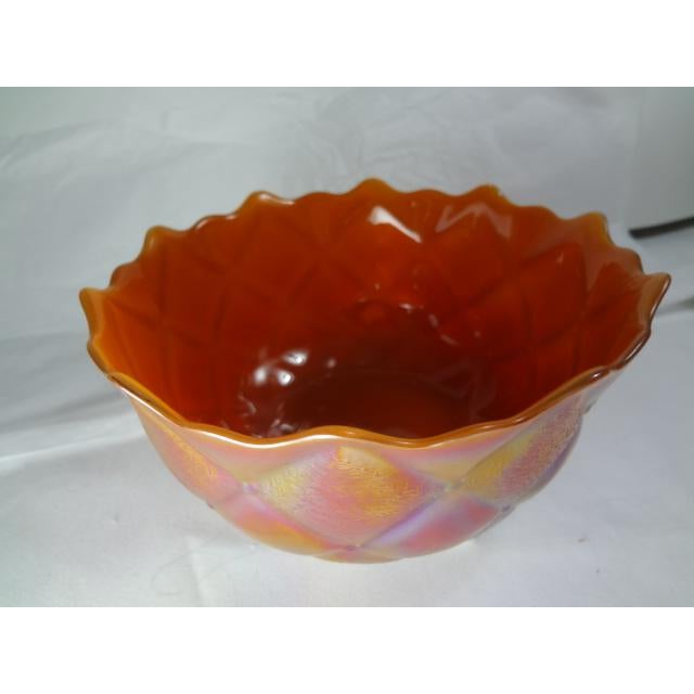 Mid 20th Century Marigold Color Carnival Iridescent Glass Bowl For Sale - Image 11 of 13