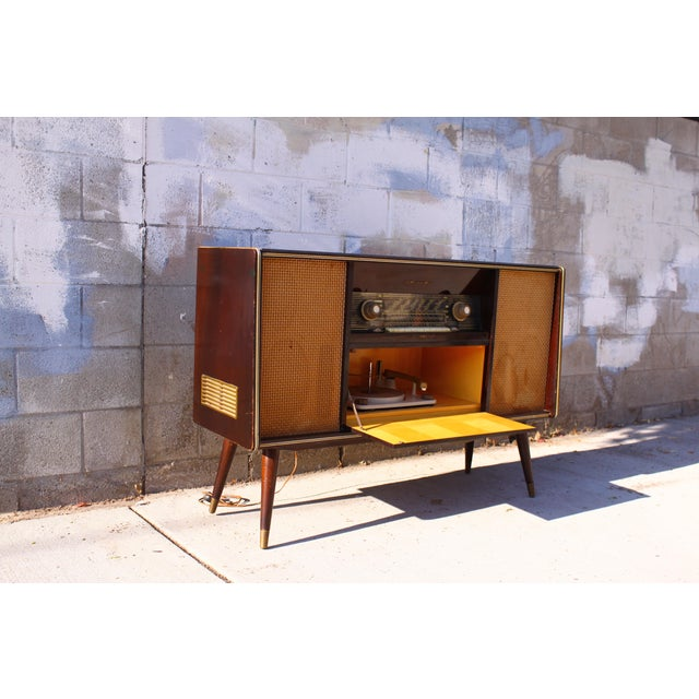 Wood Mid Century German Emud Stereo Console For Sale - Image 7 of 11