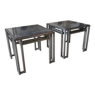 Loyd-Paxton 1970s Geometric Design Gray Steel and Granite Side Tables - a Pair For Sale