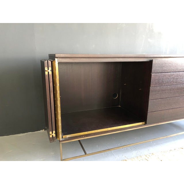 Mid Century Paul McCobb for Calvin Irwin Collection Dark Brown Finish and Brass Buffet For Sale - Image 12 of 13