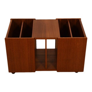 Long Danish Teak Rolling Slotted Magazine Cart / End Table For Sale