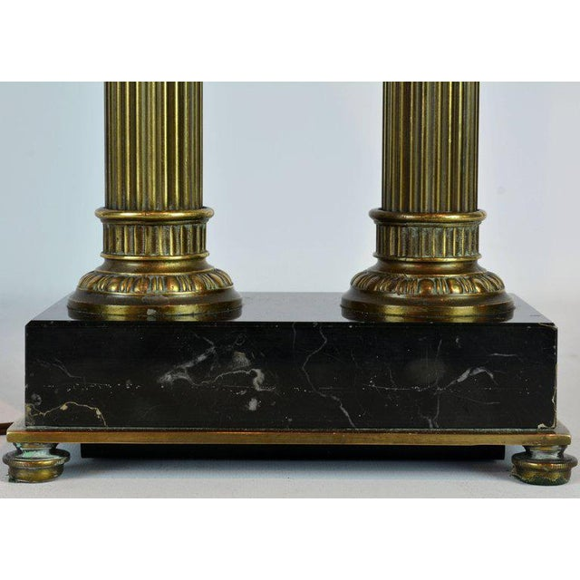 Metal Classic Bronze and Marble Twin Corinthian Column Desk Lamp For Sale - Image 7 of 11