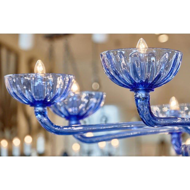 Blue Murano Glass Chandelier For Sale In Austin - Image 6 of 10