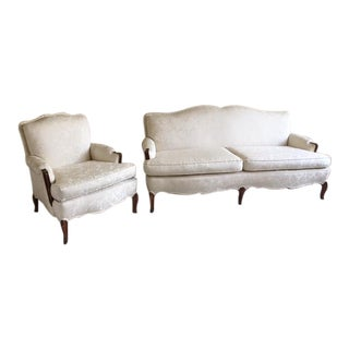 Louis XV Style Antique Walnut Carved Ivory Jaquard Sofa and Bergere Chair - 2 Pc. Set