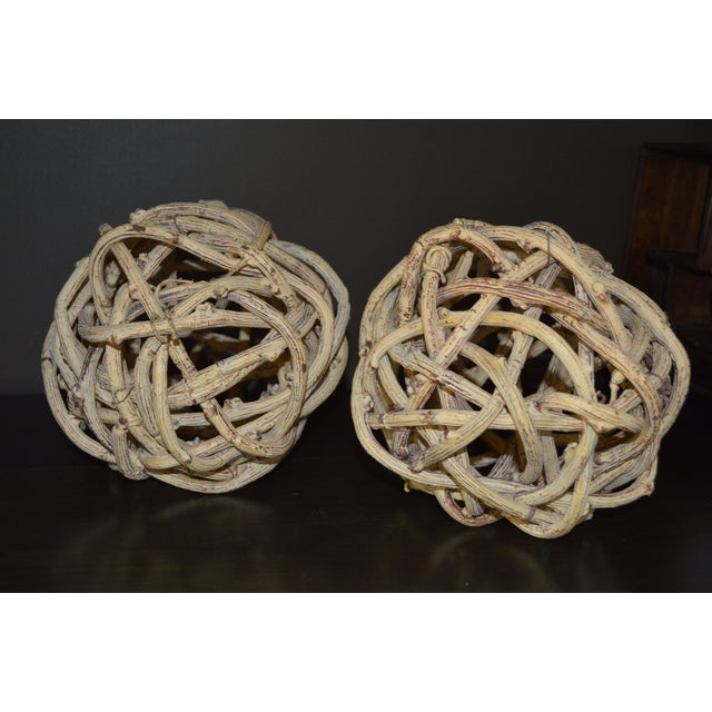 Natural Windsor Knot Balls in Dried Wisteria Stems - a Pair For Sale In Los Angeles - Image 6 of 10