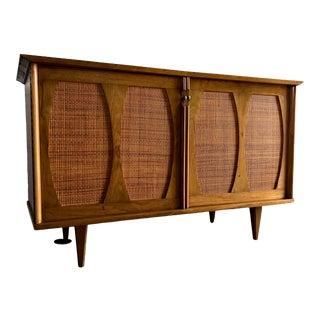 Vintage Mid Century Modern Cane Doors Credenza For Sale