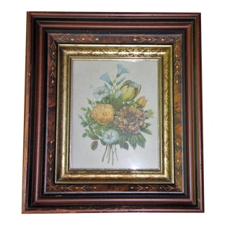 Antique Victorian Eastlake Deep Well Walnut & Gilt Picture Frame Botanical Print For Sale
