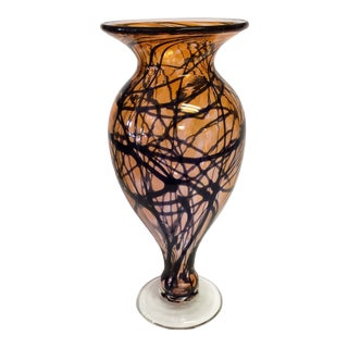 Amber With Black Blue Design Studio Art Glass Vase by Moody