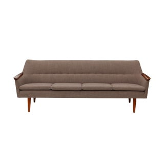 Norwegian Sofa with Sculpted Solid Teak Details For Sale