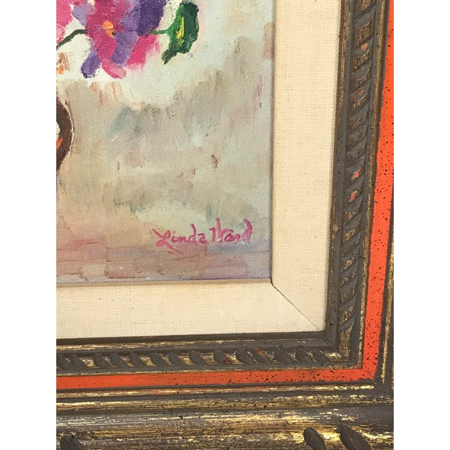 1970s Vintage Flower Still Life Oil on Canvas Painting For Sale - Image 4 of 11