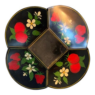 Vintage Hand-Painted Metal Toleware Bowl With Strawberries For Sale