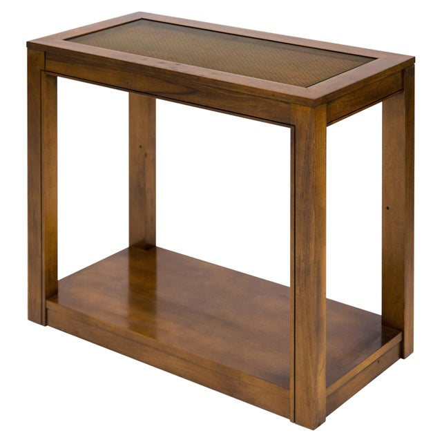 Brown Vintage Caned Top Parsons Console Table For Sale - Image 8 of 8