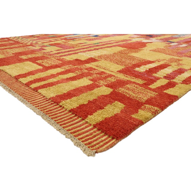 80569 Contemporary Moroccan Rug with Abstract Cubist Style Inspired by Paul Klee. Displaying well-balanced asymmetry and a...