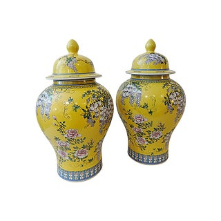 """Large Famille Jaune Ginger Jars - a Pair 24"""" H For Sale"""