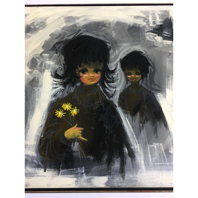 Large vintage 1960s Turner Mfg. Company reproduction painting set recessed within a dark wooden frame. Titled, Les Jeune...