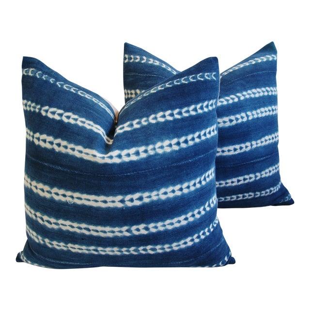 Indigo Blue Boho Chic African Mali Mud Cloth Tribal Textile Pillows - Pair - Image 1 of 11