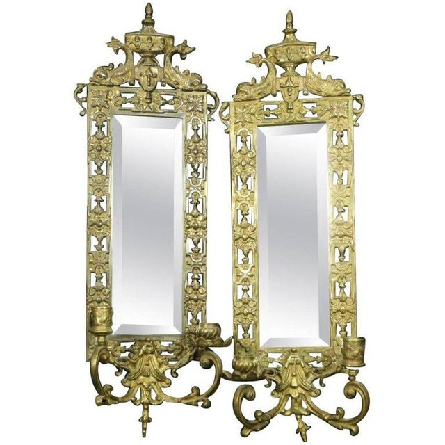 Bradley Hubbard Late 19th Century Vintage Neoclassical Brass & Mirror Candle Wall Sconces- A Pair For Sale - Image 4 of 4