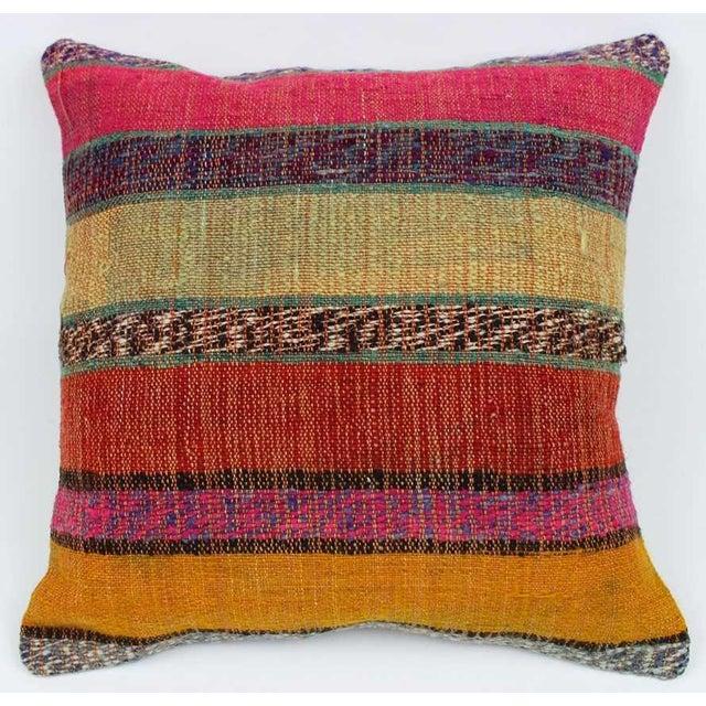 Vintage Turkish Kilim Stiped Wool Rug Pillow Case For Sale In Atlanta - Image 6 of 6